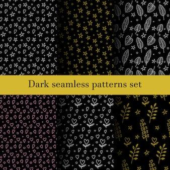 植物、葉、星、心で設定された暗いシームレスパターン