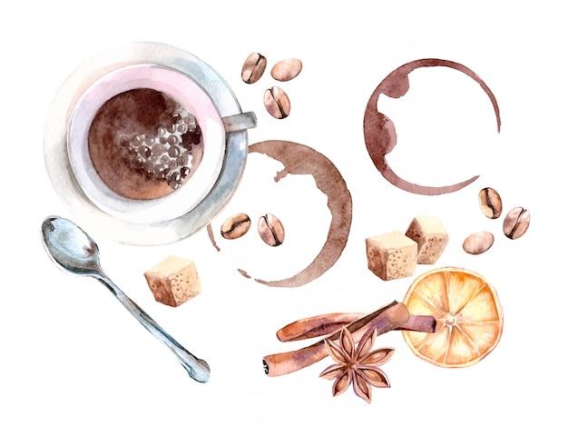 居心地の良いコーヒーカップ、スプーン、コーヒー豆入りの水彩イラスト