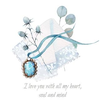 手描きのかわいいロマンチックなペンダントと鼻ぼろきれの水彩イラスト