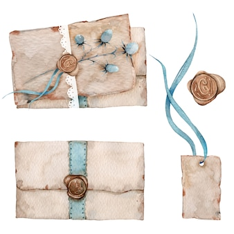 古いビンテージ文字と封筒の水彩セット
