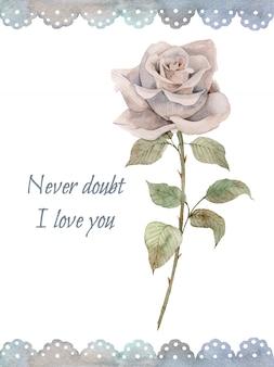 Симпатичная ретро акварель открытка с винтажной розой