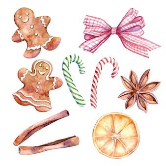 クリスマスの装飾要素の水彩セット