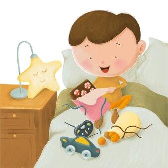 Симпатичные карикатуры иллюстрации маленького мальчика и много детских подарков