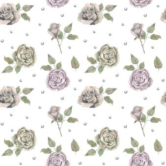 Симпатичные романтические бесшовные модели с винтажными розами