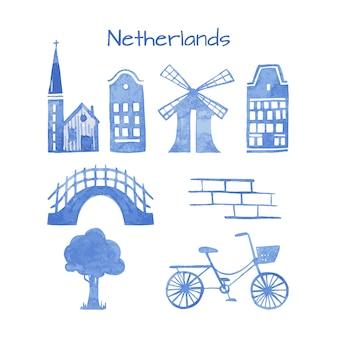 オランダ文字のものの手描き水彩セット