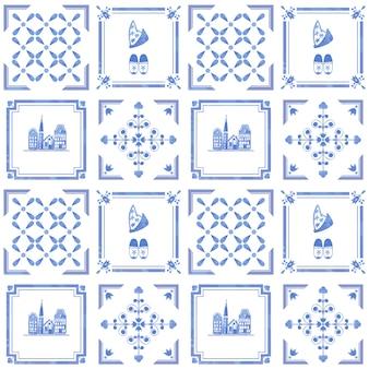 Безшовная картина с винтажными плитками нидерландов