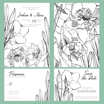ロマンチックな黒と白の水仙の花と結婚式招待カードスイート