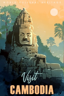 Храм будды в ангкор-ват, камбоджа. старинный туристический плакат.