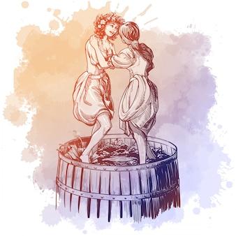 裸足の農家の女の子がブドウを搾る。グランジ水彩スポットに分離された線形描画