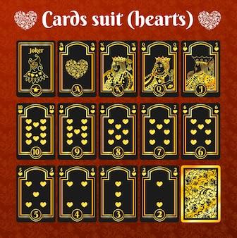 Игральные карты сердца золотой костюм