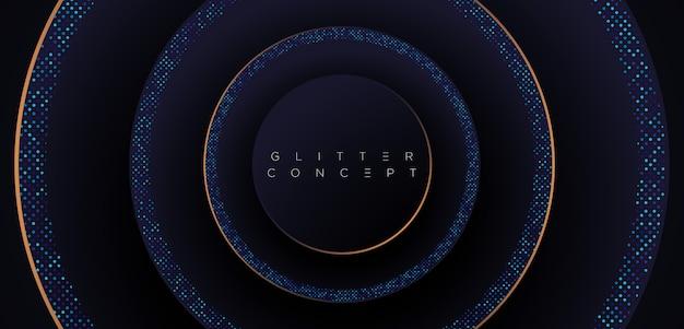 豪華な金色の幾何学的要素とハーフトーンパターンの暗い青プレミアムミニマリストの背景。ポスター、招待状、バナー、チラシ、カバーなどのキラキラ背景