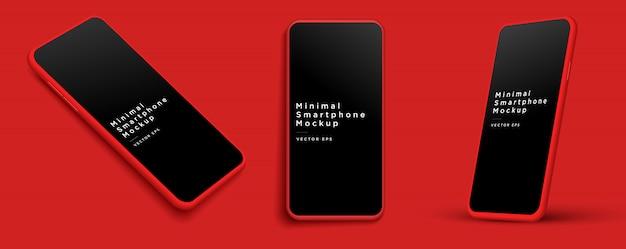 ミニマリストのモダンな赤い粘土のモックアップスマートフォン。 。