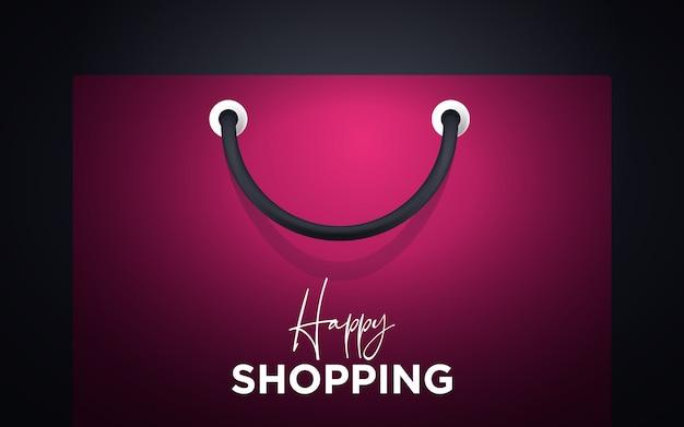 ハンドルの背景を持つカラフルな幸せな紙のショッピングバッグ