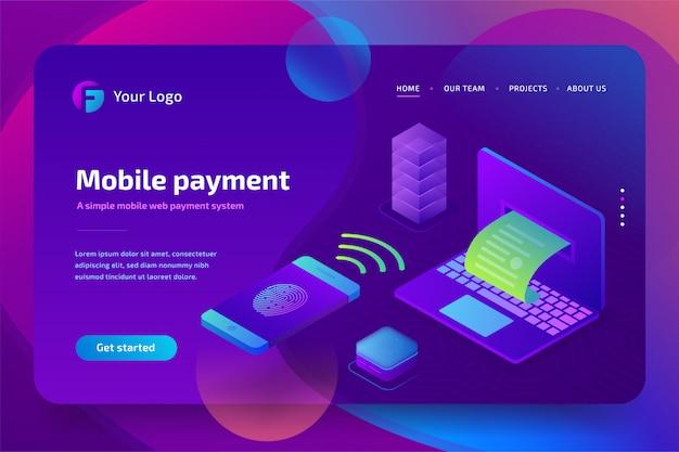 Онлайн мобильный платеж с концепцией биометрической авторизации. изометрический