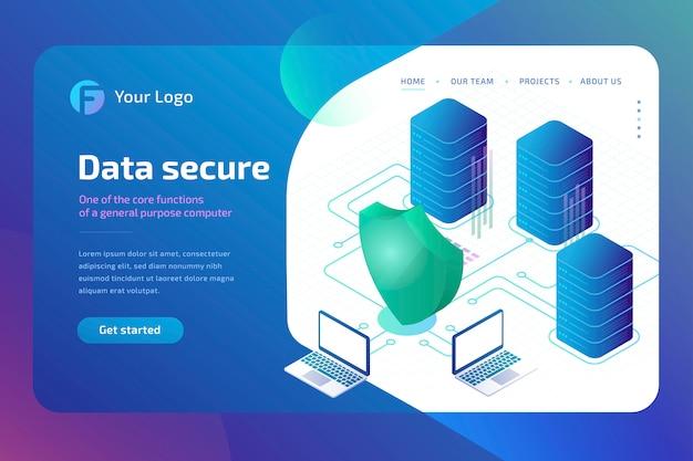 安全なデジタルデータとデータセキュリティの概念。サイバーセキュリティのランディングページテンプレート。等尺性