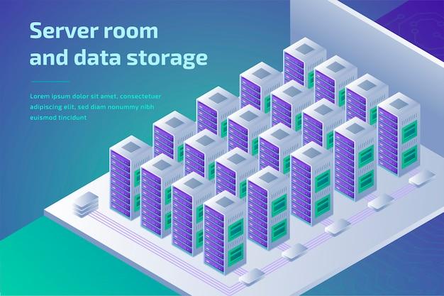 Центр обработки данных и концепция облачных вычислений. дизайн веб-страницы для сайта.