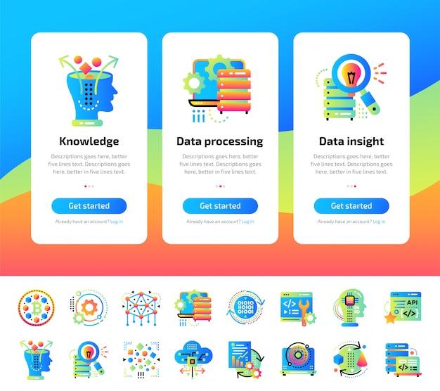 データサイエンステクノロジーのオンボーディングアプリ画面と機械学習プロセスのイラストセット。