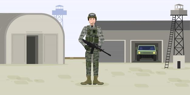 Американский солдат в боеприпасах у лагеря или базы. военный человек с ружьем или винтовкой, шлем и патроны. день независимости