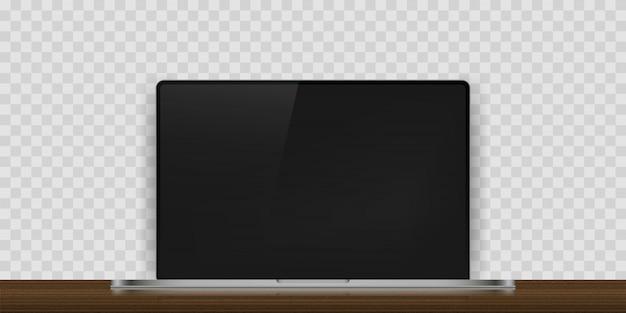 Реалистичное устройство ноутбука с тенью на деревянный стол. иллюстрация