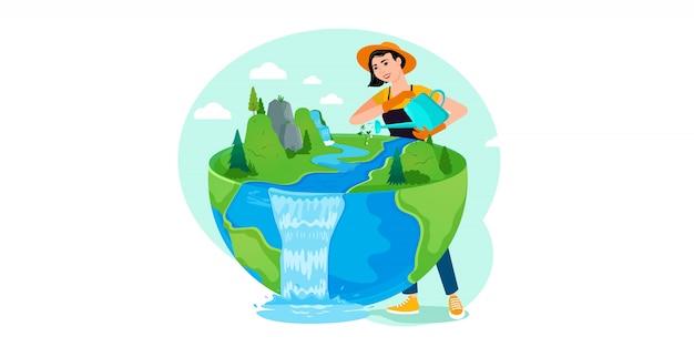 生態学のお祝いの準備のための世界の水プラントの人々。
