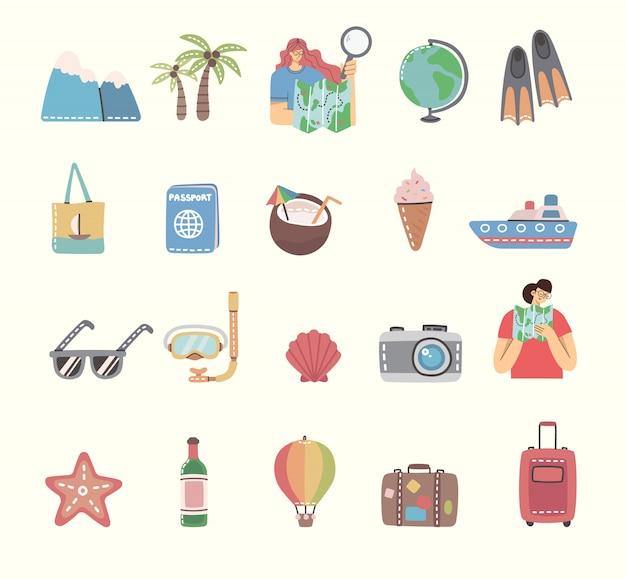 Набор значков путешествия и связанных с ними символов. плоские иллюстрации