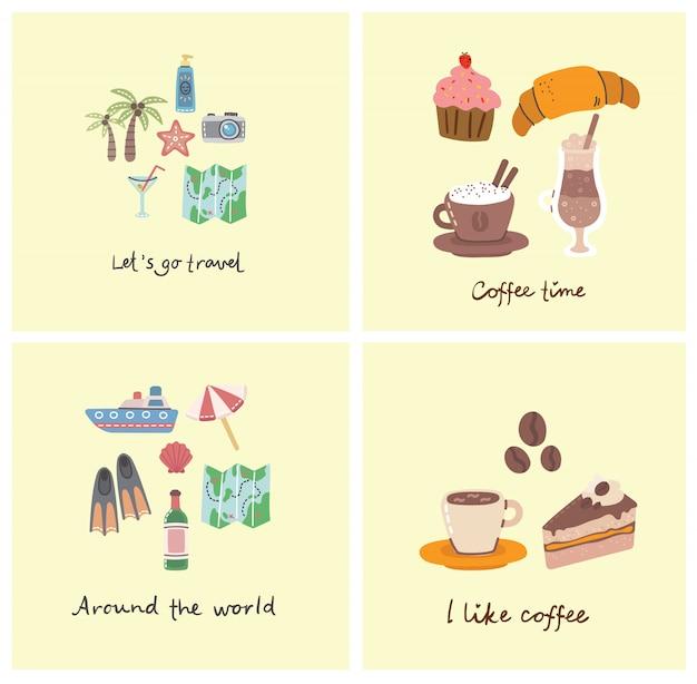 Коллаж набор символов, связанных с путешествия самолет, мороженое, багаж, коктейль, с давайте путешествовать рукописный текст.