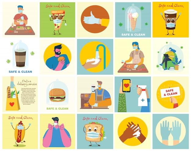 きれいに洗った手でポスターのセット。ウイルスから保護された食事。イラストの医療目的セット。モダンなフラットスタイルのベクトルイラスト。コロナウイルス保護の概念。
