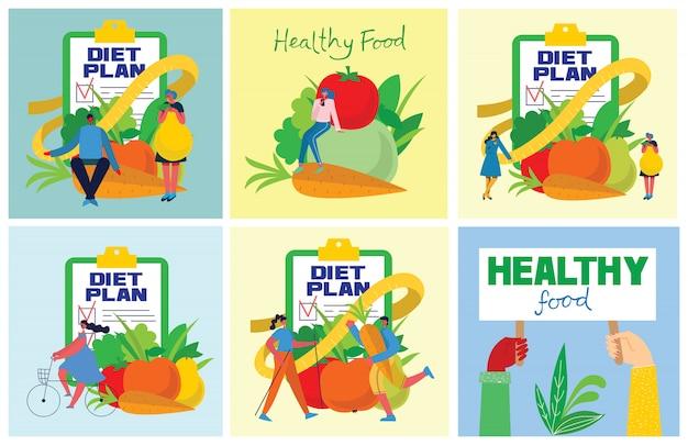 Еда, диета, здоровый образ жизни и потеря веса баннер с блюдом из салата, столовый набор, смартфон и план диеты на ноутбуке