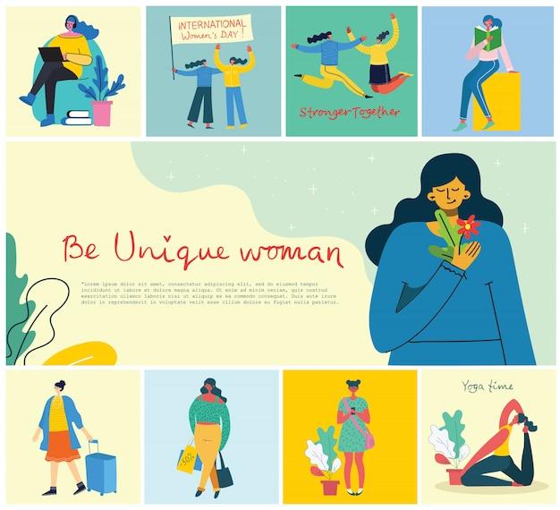 女性のユニークな背景の概念。幸せな女性の女性と手描きの引用とスタイリッシュなモダンなベクトルイラストカードはユニークであります。