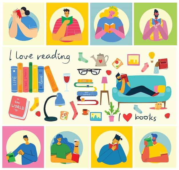 世界本の日、本を読んで、フラットスタイルで本祭のベクトルの概念図。座って、立って、歩いて、本をフラットスタイルで読む人