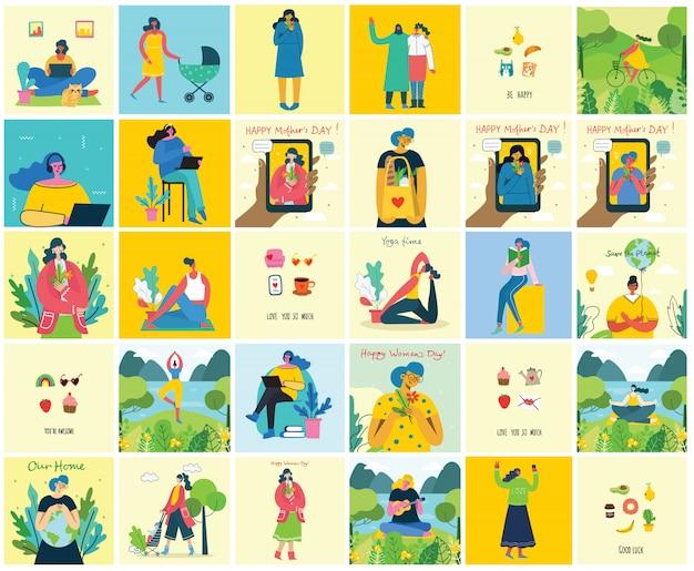 女性のユニークな背景の概念。幸せな女性の女性とスタイリッシュなモダンなベクトルイラストカード
