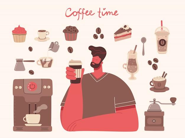 Большой набор кофеварка, чашка, стекло, кофемолка вокруг человека с чашкой кофе в стиле арт на фоне.