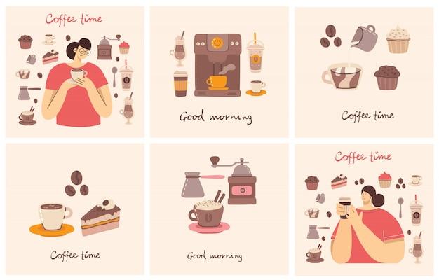 Большой набор карточек с кофеваркой, чашкой, стеклом, кофемолкой вокруг женщины с чашкой кофе в стиле арт на фоне.