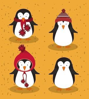 かわいい動物とメリークリスマスのコンセプト