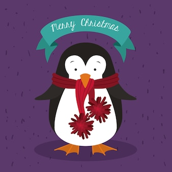 かわいい動物のデザインとメリークリスマスのコンセプト