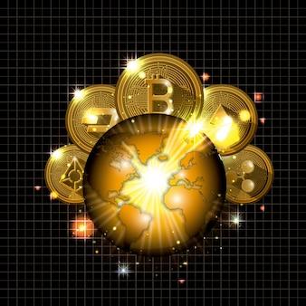 Криптовалюта на иконе планеты