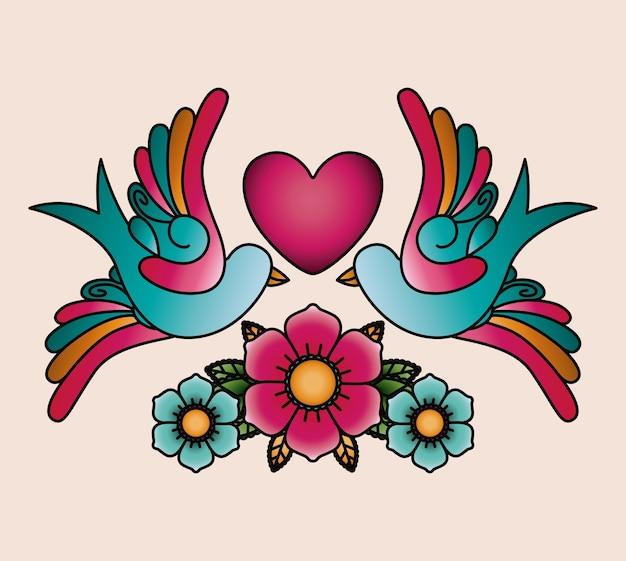 心臓と鳥の入れ墨のアイコンのデザインを隔離