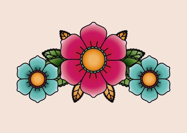 花の入れ墨は、アイコンのデザインを分離