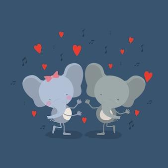 Пара слонов, танцующих в любви
