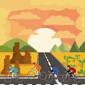 美しい風景の背景とサイクリングレース