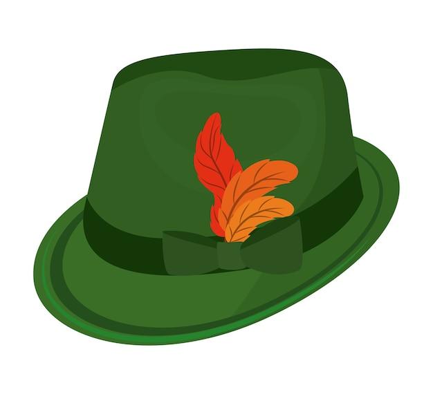 オクトーバーフェストの帽子、隔離された、アイコン、ベクトル、イラスト