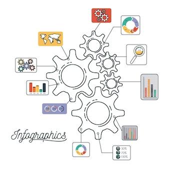 Инфографика и статистика с набором шестеренок