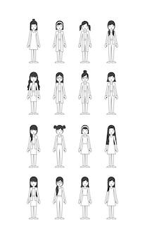 若い女性のキャラクターのグループ