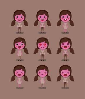 Маленькие розовые девушки смайлик набор кавайских персонажей