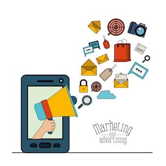 マーケティング要素を備えたスマートフォンとメガホン