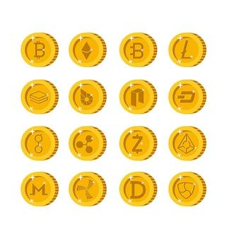 Значки набора значков криптовалюты