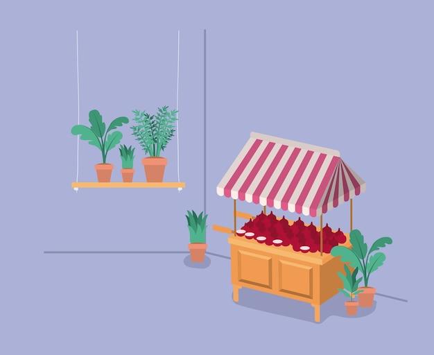 キオスクの植物飼育場