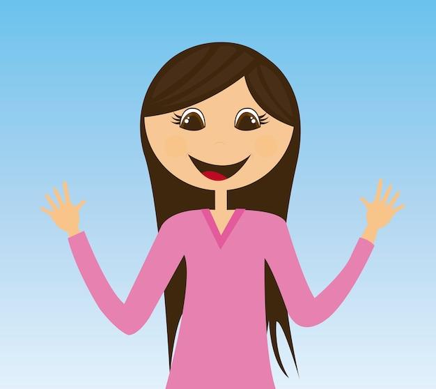 青の背景ベクトル上の若い女性の漫画