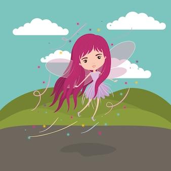妖精の幻想的なキャラクターは、山の翼で飛んで