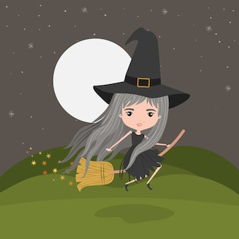 Симпатичная ведьма фантастический персонаж, летающий с метлой
